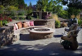 exterior design marvellous backyard fireplace ideas with round outdoor firepits and cool stone bench with