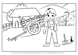 800x566 learn how to draw a farmer village scene villages step by step