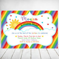 Rainbow Birthday Invitation Card Rainbow Birthday Party Invite Girl