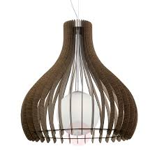 Brown Tindori Hanging Light With Wooden Slats