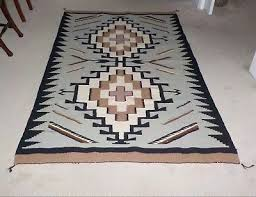vintage large native american navajo rug with two grey hills pattern
