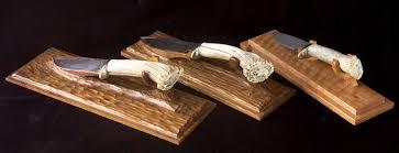 Knife Display Stands Classy Art Knives Damascus Steel Scrimshaw Art Antler Handles Wood