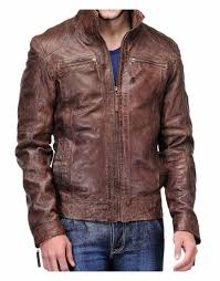 men s distressed brown leather jacket