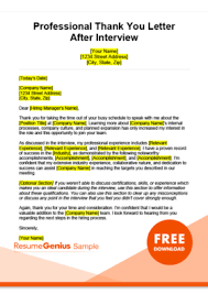 After Interview Thank You Letter Sample Thank You Letter Samples Free Downloadable Templates