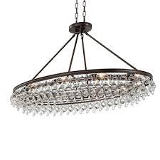 crystorama calypso 8 light crystal teardrop vibrant bronze oval chandelier