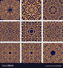 Arabic Pattern Arabic Seamless Floral Pattern Set For Tile Design