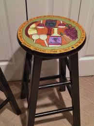 custom hand painted 29 wooden round top bar stool kitchen wine