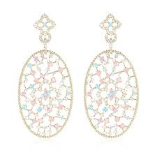 rose gold chandelier earrings rose gold color filigree big oval dangle earrings inspired pave colorful stones
