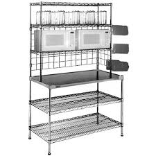 ampamp prep table: shop eagle group  inch x  inch  gauge type  stainless steel microwave prep table with  overshelves and  undershelves