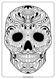 printable sugar skull pdf coloring pages 07