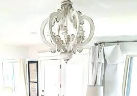 distressed white wooden french farmhouse chandelier with 6 bulbs rustic