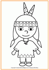 Pilgrim Boy And Girl Outlines Native American Boy Colouring Page