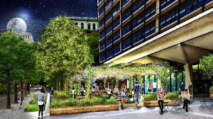 an artist s rendering of the independence beer garden at 6th and chestnut streets
