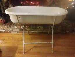 antique hungarian porcelain baby bath tub with stand lampar farmhouse enamel