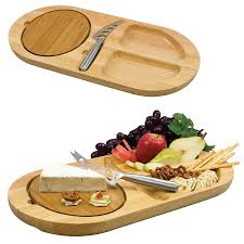 fontina oval wood serving tray w 2 carved moats removable cutting