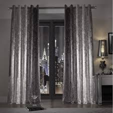 Lined Bedroom Curtains Kylie Minogue At Home Natala Slate Grey Silver Velvet Lined Ready