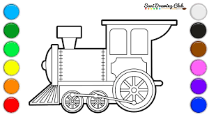 Dominant color of a particular item: How To Draw And Colour Toy Train Engine Train Coloring Page Youtube