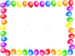 Colourful Birthday Party Balloon Page Border Design. Stock Photo ...