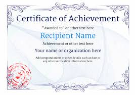 Achievement Certificate Certificate Of Achievement Free Templates Easy To Use Download Print