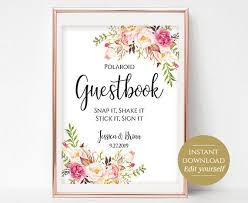 Polaroid Guestbook Sign Template Printable Guest Book Wedding Photo