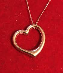 9ct white gold floating heart pendant necklace chain fine curb 18