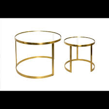set of two aula glass copper coffee tables