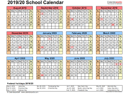 Printable School Year Calendars 2019 School Calendar Printable Academic 2019 2020