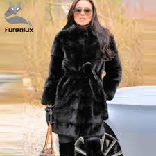 <b>Furealux</b> New Style Fashion Fur Coat <b>Natural</b> Mink Stand Collar ...