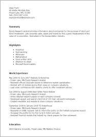Resume Templates: Equity Research Analyst