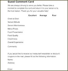 Restaurant Survey Cards Comment Card Template Bityar Co