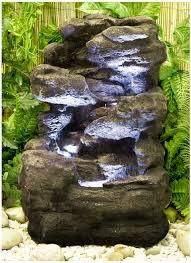 Fontana Cascata Da Giardino : Fontana a cascata effetto roccia livelli e con luci u ac