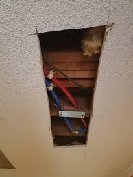 drywall repair foyer ceiling hole before drywall installation
