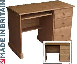 solid pine desk handcrafted waxed single pedestal laptop bureau a4 filing drawer choice of colours no flat packs no assembly spd6 co uk