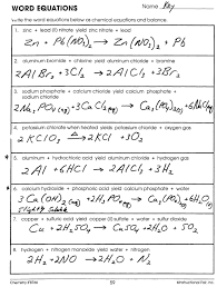 worksheet chemical word equations worksheet mr brueckners chemistry class hhs 2016 12 key for word equations