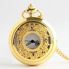 luxury gold hollow pocket watch vintage pendant watch necklace chain antique skleton watches gifts with box tpb044 pocket watch pocket watches
