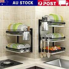 cup dish drainer drying rack wall mount