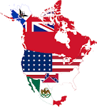 Image result for map of north america with flags