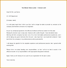 One Weeks Notice Letter Resignation Letter With One Week Notice Under Fontanacountryinn Com