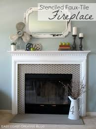 Tile Fireplace Makeover Stenciled Faux Tile Fireplace Tutorial East Coast Creative Blog