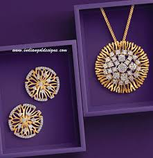checkout 18k gold diamond pendant paired with matching earrings from tanishq jewellers