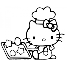 Disegno Di Hello Kitty In Cucina Da Colorare Per Bambini
