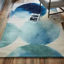 watercolor circles rug seaglass blue
