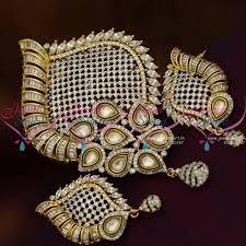 ps8814 latest fusion designer jewellery kundan pendant set antique gold imitation collections