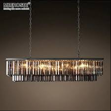 modern rectangle chandelier glass suspension lighting fixture black hanging lamp for living room ping mall drop