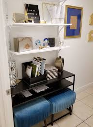 tiny office design. Tiny Black, White, And Gold Office Transformation | Glam Under 50 Sqft Design