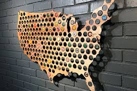 wooden united states wall art beer cap map use the beer cap map to turn bottle