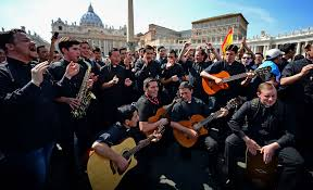 faithful gather for the elevation of pope john paul ii and john benedict resigned from the