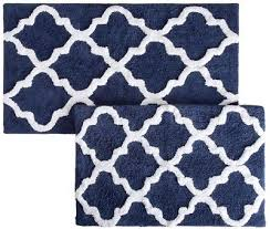 2 piece bath mat set navy european moroccan trellis cotton bathroom bath rug