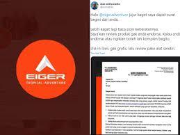 Последние твиты от eiger (@eigeradventure). Bak Perang Brand Eiger Layangkan Surat Keberatan Brand Arei Buat Surat Keringanan Pikiran Rakyat Cirebon