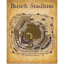 Detailed Seating Chart Busch Stadium Busch Stadium Seating Chart Art Print 11x14 Unframed Art